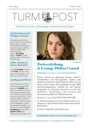 Turm Cover - Post Preisverleihung / Lesung 13. Literaturpreis Nordost